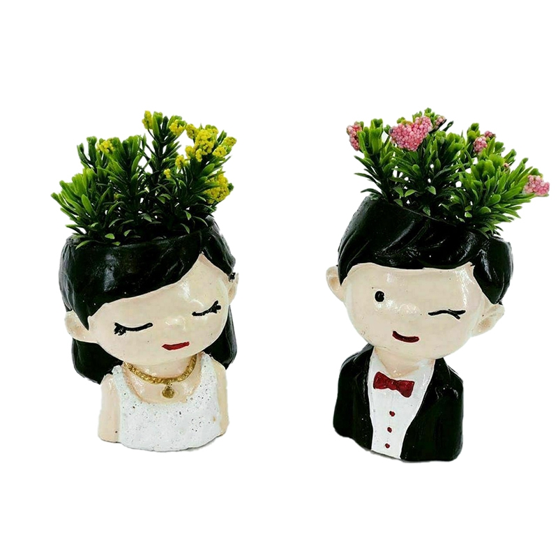 گلدان طرح عروس و داماد مدل 0035 مجموعه دو عددی