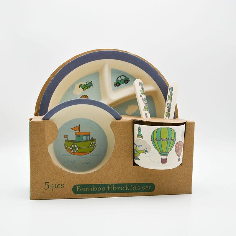 ظرف غذای کودک بامبو طرح سفر