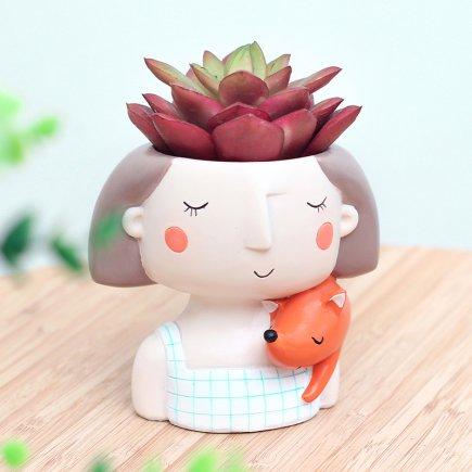 گلدان دکوگل طرح دخترک و روباه   مدل   DG022