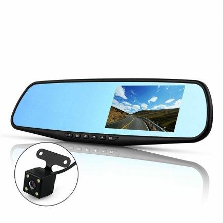 آینه مانیتور دار و دوربین دنده عقب خودرو(2 لنزه)PZ916