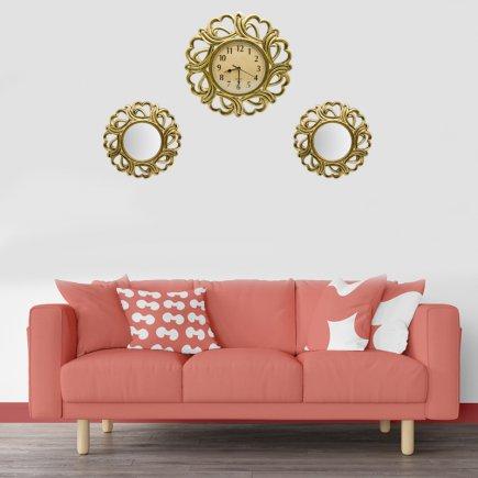 ساعت دیواری و قاب آینه 2 عددی /طلایی
