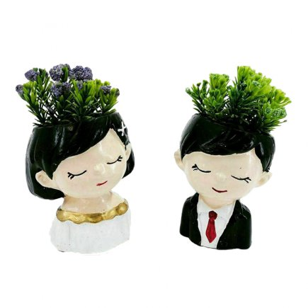 گلدان طرح عروس و داماد مدل 0036 مجموعه دو عددی
