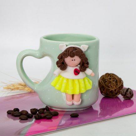 لیوان دسته قلبی عروسکی کد 5903