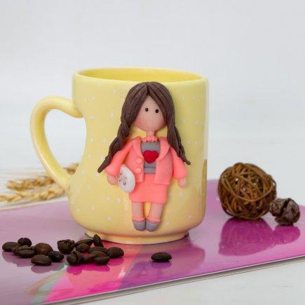 لیوان دسته قلبی عروسکی کد 5906