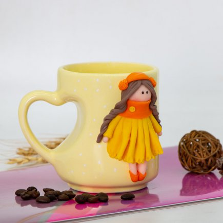 لیوان دسته قلبی عروسکی کد 5907