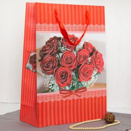 پاکت هدیه طرح گل رز قرمز