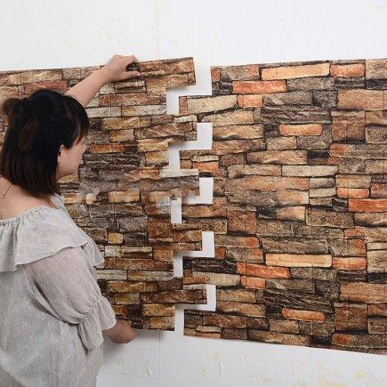 دیوارپوش طرح آجر قهوه ای